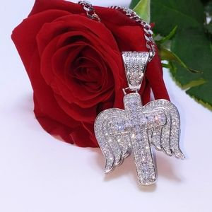 "Jewelry - Icy Angel Cross Pendant+ 18"" Cuban Chain"